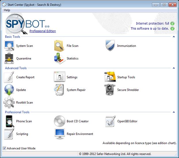 Spybot2.0_StartCenter